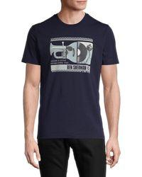 Ben Sherman Men's Spliced Music Graphic T-shirt - Maritime Blue - Size S