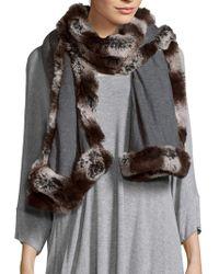 """Badgley Mischka Solid Faux Fur-trimmed Scarf - 80"""" X 24"""" - Grey"""