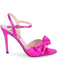 SJP by Sarah Jessica Parker Louise Satin Bow Stiletto Sandals - Blue