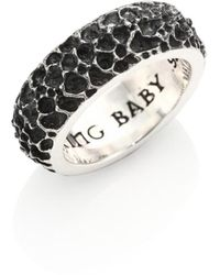 King Baby Studio Sterling Silver Lava Rock Textured Band Ring - Metallic