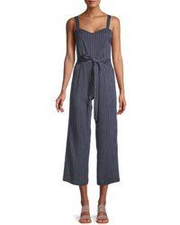 PAIGE Women's Emma Striped Jumpsuit - Blue - Size L