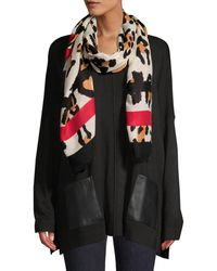 Vince Camuto Leopard-print & Striped Scarf - Multicolour