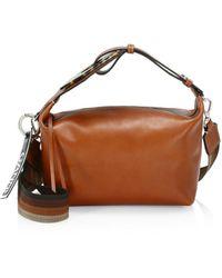 Ganni Women's Leather Hobo Bag - Cognac - Brown