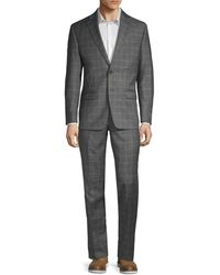Calvin Klein Two-piece Extra Slim Fit Plaid Wool Suit - Grey