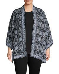 Max Studio Plus Woven Crepe Kimono - Black