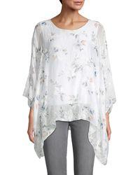 Le Marais Floral Silk Handkerchief Hem Top - White