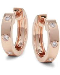 Saks Fifth Avenue Women's 14k Rose Gold & 0.11 Tcw Diamond Hoop Earrings - Metallic