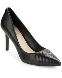 Karl Lagerfeld Roulle Leather Point-toe Court Shoes - Natural