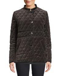 Jane Post Quilted Velvet Jacket - Grey
