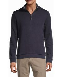 Ted Baker Men's Woven Half-zip Pullover - Navy - Size 5 (xl) - Blue