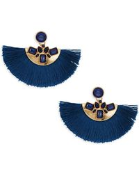 Ava & Aiden Goldtone Crystal Half-circle Fringe Drop Earrings - Blue