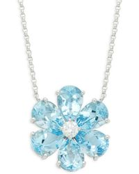 Effy 14k White Gold, Aquarmarine & Diamond Flower Pendant Necklace - Blue