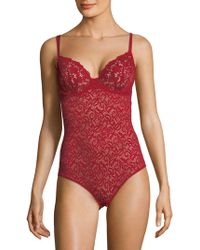 DKNY Classic Lace Bodysuit - Red