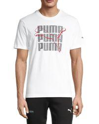 PUMA Men's High Definition Cat Logo T-shirt - White - Size L