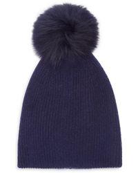 Saks Fifth Avenue Knit Cashmere & Faux Fur Pom-pom Hat - Multicolour