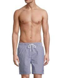 Brooks Brothers Gingham Swim Shorts - Blue