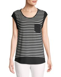 Calvin Klein Striped Pocket Tee - Black