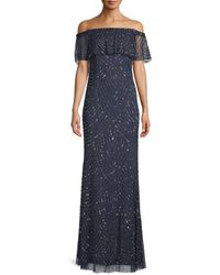 Adrianna Papell Women's Embellished Column Gown - Navy - Size 0 - Blue