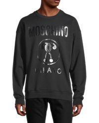 Moschino ! Milano Logo Regular-fit Crewneck Sweatshirt - Blue