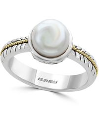 Effy 18k Yellow Gold, 10mm Freshwater Pearl & Sterling Silver Ring - Metallic