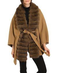 Belle Fare Fox Fur Collar Wool & Cashmere Wrap Coat - Brown