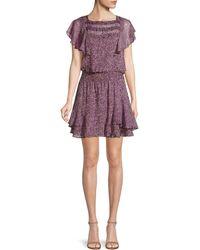 Parker Funfetti Print Ruffle Mini Dress - Purple