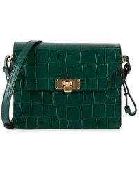 Marge Sherwood Women's Brick Croc-embossed Leather Shoulder Bag - Green Croc