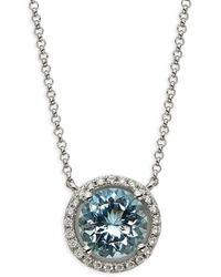 Saks Fifth Avenue - Women's 14k White Gold, Aquamarine & Diamond Necklace - Lyst