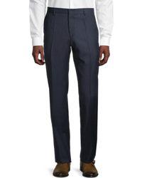 BOSS by HUGO BOSS Genius5 Flat-front Linen Trousers - Blue