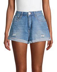 One Teaspoon Bandits High-rise Distressed Denim Shorts - Blue