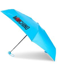 Moschino Logo Mini Umbrella - Light Blue