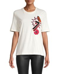 Maje Embroidered Cotton-blend Tee - White
