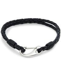 Saks Fifth Avenue Link Up Silvertone & Woven Leather Bracelet - Black