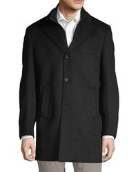 Saks Fifth Avenue Cash Wool Car Coat - Black