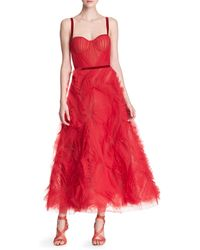Marchesa Sleeveless Tulle Gown - Red