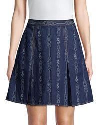 Tory Burch Gemini Jacquard Denim Mini A-line Skirt - Blue
