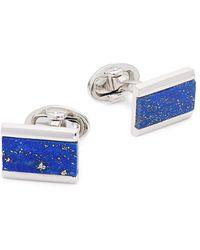 Saks Fifth Avenue Sterling Silver & Lapis Rectangular Cufflinks - Blue