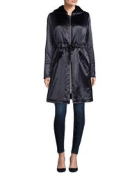 Jane Post - Shiny Satin Faux Fur-hooded Coat - Lyst