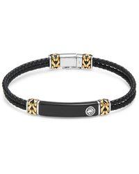 Effy Men's Goldplated Sterling Silver, Sterling Silver, Leather & Onyx Bracelet - Metallic