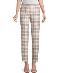 Lafayette 148 New York Manhattan Slim Plaid Trousers - Multicolour