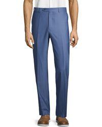 Canali Unfinished Hem Wool Pants - Blue