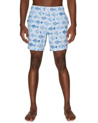Sperry Top-Sider Men's Fish-print Swim Shorts - White - Size Xl