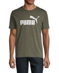 PUMA Men's Logo Cotton-blend Tee - Green - Size S
