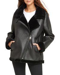 DKNY Oversized Faux Shearling Jacket - Black
