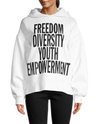 FRAME Oversized Graphic Cotton-blend Hoodie - White