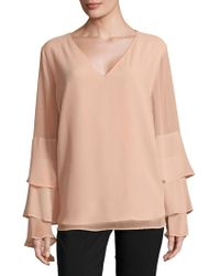 Calvin Klein - Ruffle Sleeve Top - Lyst