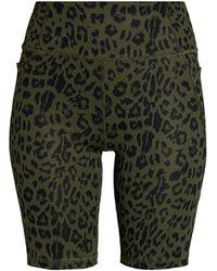 X By Gottex Active Leopard Biker Shorts - Green