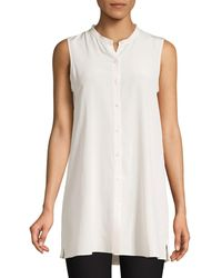Eileen Fisher Long Sleeveless Silk Top - White