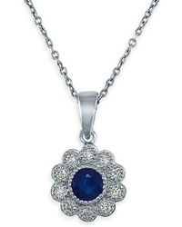 Effy - Sapphire, Diamond And 14k White Gold Flower Pendant Necklace - Lyst