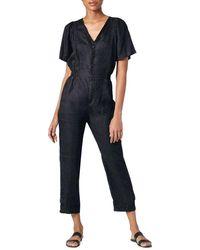 Joie Linen Cropped Jumpsuit - Blue